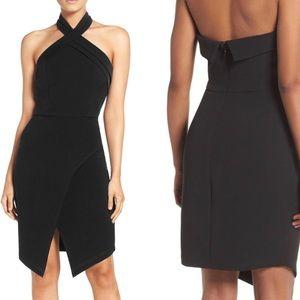Adelyn Rae Halter Asymmetrical Sheath Dress Sz M